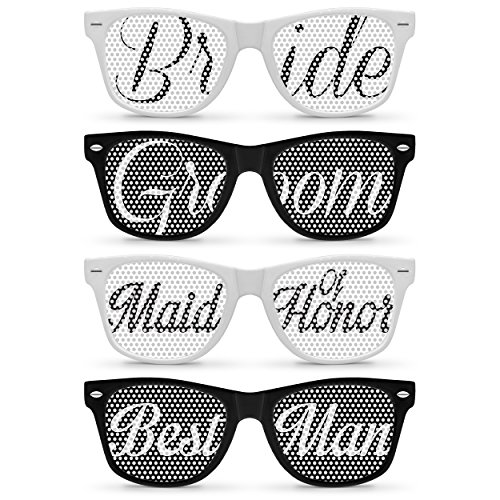 4pcs Retro Wedding Sunglasses Pack (Bride, Groom, Maid of Honor, Best - Sunglasses Groom Bride