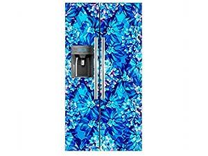 Vinilo Frigorífico Americano Damasco Azul | 91x176cm | Varias ...