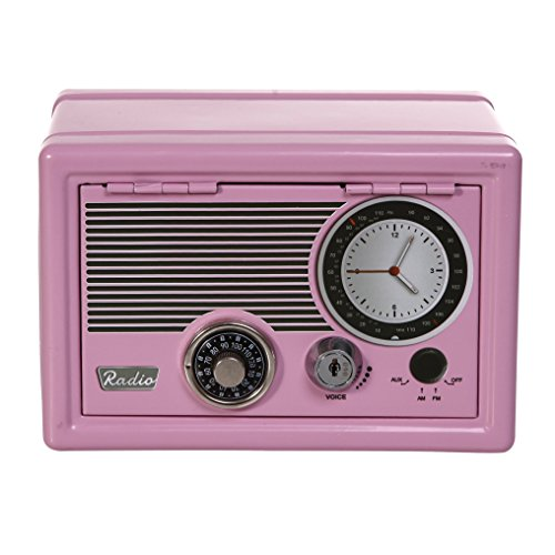 Beautiful Retro Pink Radio Design Metal Safe With Dial and Key Double (Dial Double Dial)