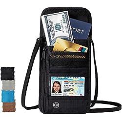DEW Travel Passport Holder Stash Hidden Neck Pouch RFID Blocking Travel Anti-Theft Hidden Wallet (Black)