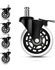Office Chair Wheels, Heavy-Duty Chair Casters Replacement with Brakes, 3 Inch Rubber Chair Wheels fit Most Desk Chair, Gaming Chair, Computer Chair Safe for All Floors, Set of 5