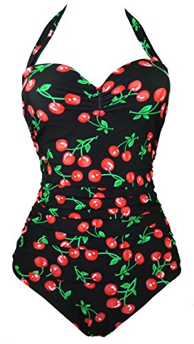 Cocoship 50s Retro Black Vintage Flattering Cherry Print One Piece Swimsuit Bathing suit 4XL(FBA)