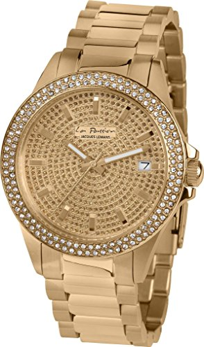 Jacques Lemans Women's La Passion 38mm Gold Plated Bracelet & Case Quartz Gold-Tone Dial Watch LP-129C