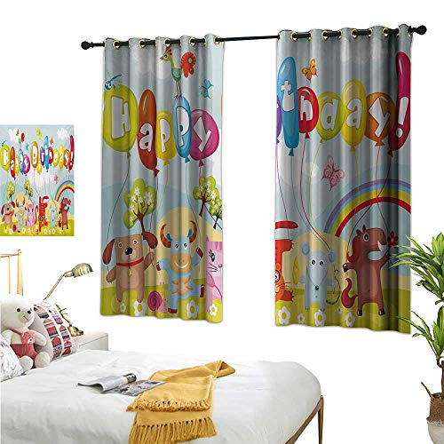 S Brave Sky Kids Birthday Customized Curtains Farm Life Animals Balloons Rainbow Clouds Village Theme Party Fun Art Print W55 x L39,Suitable for Bedroom Living Room Study, -