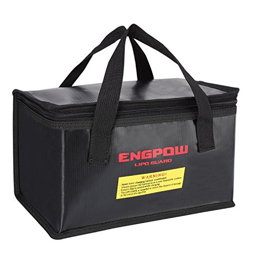 - ENGPOW Fireproof Explosionproof Lipo Safe Bag for Lipo Battery Storage and Charging,Large Space Fire and Water Resistant Lipo Battery Guard with Double Zipper (260x130x150mm) (Black)
