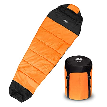 Sleeping bag, Mummy Sleeping Bag with Compression Sack 3-4 Season Warm , Cool Weather – Summer, Spring, Fall, Lightweight Waterproof for Adults, Camping, Hiking, Traveling, Backpacking and Outdoors