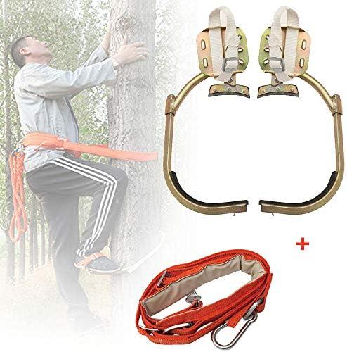 滑り止めクライミングツリースパイク、安全ベルト調整可能なストラップロープレスキューベルト、ポールクライミングツリーアーティファクト、狩猟観察用、果物狩り、使いやすい,500withsafetybelt