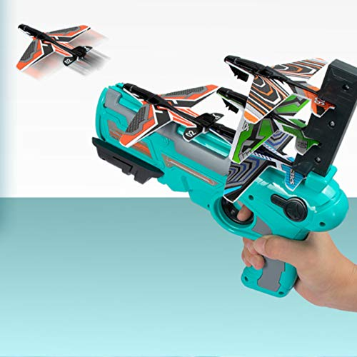 bestheart 2Pcs Toy Aircraft Launcher for Kids – 8 Colorful Foam Aircraft and Handheld Aircraft Launcher - Fun Outdoor Toy for Kids - Gift Toys for Boys and Girls Age (Blue - 1pc)