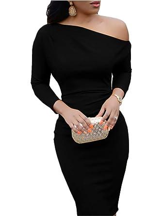 b71f6f90620 Bigyonger Womens One Shoulder Long Sleeve Bodycon Club Evening Party Midi Dresses  Black