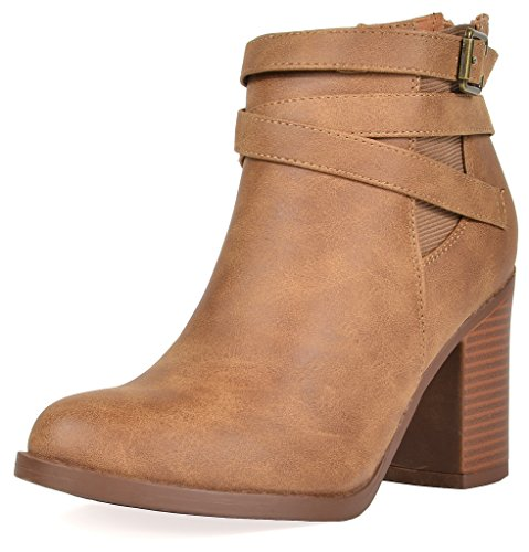 TOETOS Women's Chicago-03 Tan Faux Leather PU Chunky Heel Ankle Boots Size 8 M - Tan Booties Womens