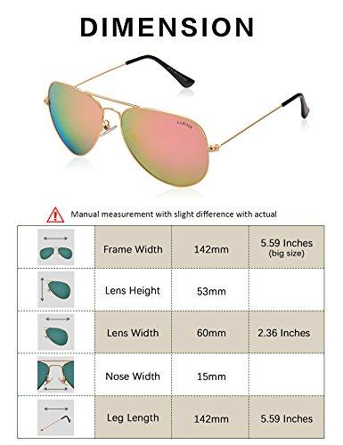 rosa gafas de LUENX 60mm Protección polarizado sol de el Hombre con Aviador 400 conducción caso 15 UV H55qSRx