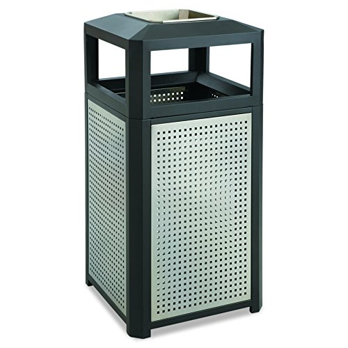 Safco Products Evos Outdoor/Indoor Steel Trash Can 9933BL, Black, Perforated Galvanized Steel Panels, Stainless Steel Ashtray, 15 Gallon (Sand Urn Ashtray)