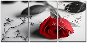 Canvas Print Wall Art Painting For Home Decor Still Life Of Love Red Rose Flower On Black And White Background With Vintage Elements 3 Pieces Panel Paintings Modern Giclee Stretched And Framed Artwork The Picture For Living Room Decoration Flower Pictures Photo Prints On Canvas