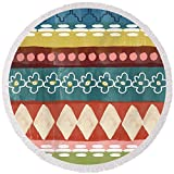 Pixels Round Beach Towel With Tassels featuring ''Southwest 3- Art By Linda Woods'' by Linda Woods