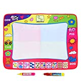 Aqua Doodle Mat, Large Magic Water Drawing Painting Writing Mat Pad Board, 2 Pen Develop Intelligence Sketch Learning Toy Gift for Boys Girls Toddlers Kids Children 4 Color 31.5 X 23.6 Inches D1