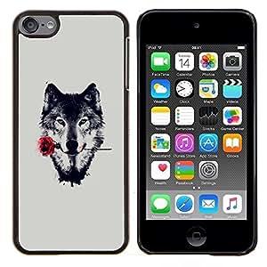 Qstar Arte & diseño plástico duro Fundas Cover Cubre Hard Case Cover para Apple iPod Touch 6 6th Touch6 (Lobo con Rose)