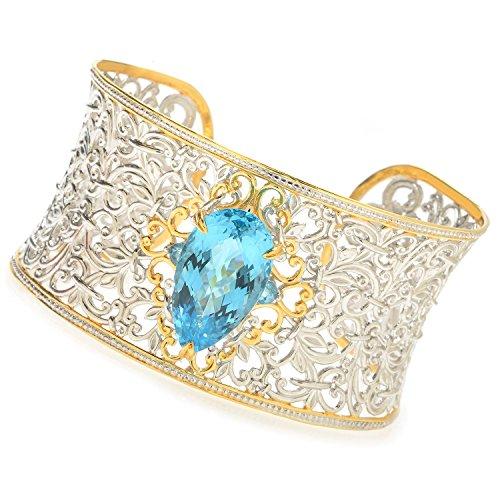 Michael Valitutti Palladium Silver Pear Shaped Swiss Blue Topaz Wide Cuff Bracelet (Topaz Shaped Pear)