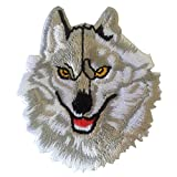Wolf Head Morale White Animal Wildlife Iron on Patches Embroidered