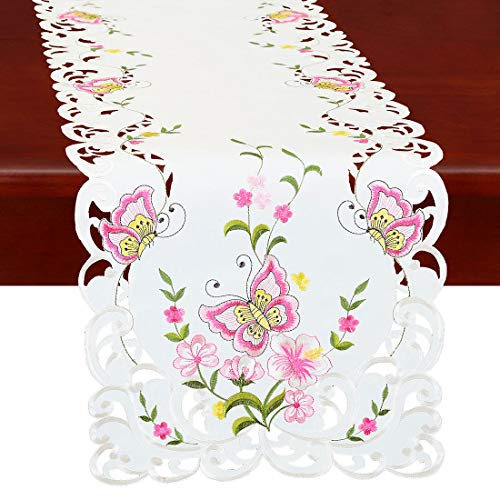 Simhomsen Spring Butterfly and Floral Table Runners, Dresser Scarf (Pink, 14 × 54 Inch)