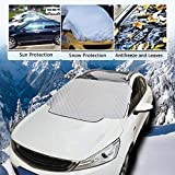 Windshield Snow Cover Magnetic Ice Snow Sun Windshield Cover Snow Ice Protector Cotton Thicker Winter Snow Removal Magnetic Edges Fits Most Car