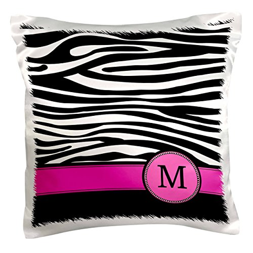 3dRose pc_154284_1 Letter M Monogrammed Black and White Zebra Stripes Animal Print with Hot Pink Personalized Initial Pillow Case, 16