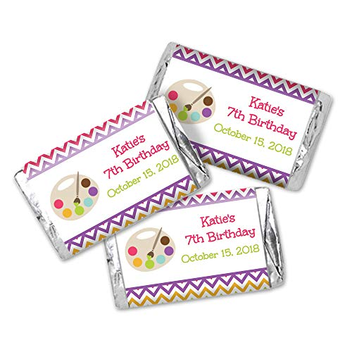 - Personalized Art Party Themed Mini Candy Bar Wrappers - Set of 35 Birthday Favor Stickers (CL106)