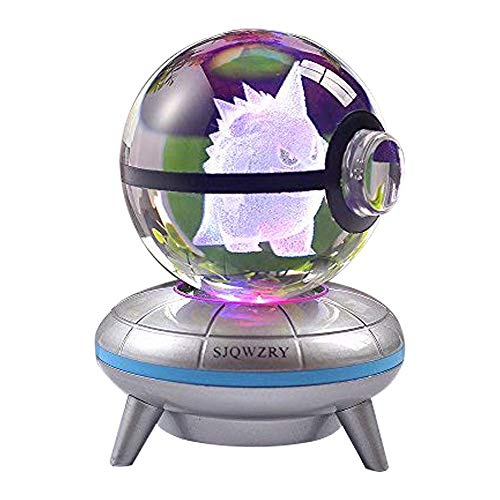 3D Crystal Ball LED Night Light Base Changes Color Toy Night Light Child Christmas Present (Pokemon Gengar Toy)