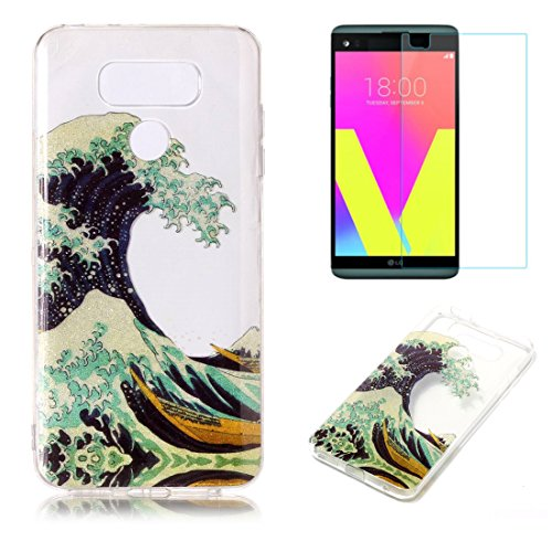 For LG G6 Case with Screen Protector,OYIME Glitter Slim Fit Clear Silicone TPU Anti-Scratch Drop Proof Resistant Rubber Protective Back Cover (Wave) Premium Wave Silicone Skin