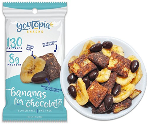 - Youtopia Snacks Delicious 130-calorie Snack Packs, High-Protein Low-Sugar Low-calorie Gluten-free GMO-free Healthy Snacks, 1oz Snack Packs (Pack of 10), Bananas for Chocolate