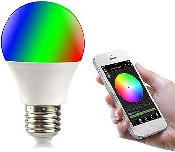 AIMENGTE RGBW LED Smart Light Bombilla, Smart Bluetooth 4.0 APP Control Magic Ball Bulb, 4.5W