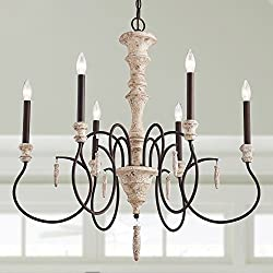 LALUZ 6-Light Shabby Chic French Country Wooden Chandelier Lighting Rustic Chandeliers Pendant Lights