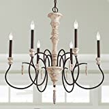 LALUZ 6-Light Shabby Chic French Country Wooden Chandelier Lighting Rustic Chandeliers Pendant Lights For Sale