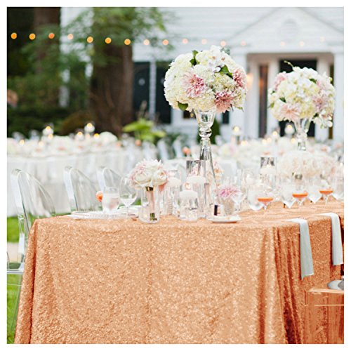Rose gold party decor amazon 60102 rectangle sparkly rose gold sequin glamorous clothfabric for weddingdessert table junglespirit Gallery