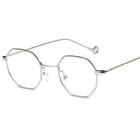 60ceeb56fc8 Amazon.com  Doober Classic Men Women Hexagon Square Sunglasses Metal  Eyewear Fashion Shades Outdoor (Black Flat Glasses