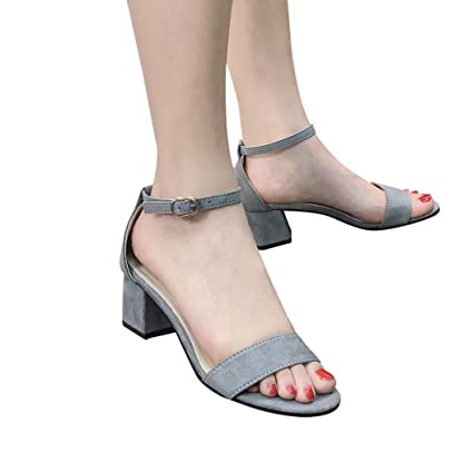 e8a58123f809 Gyoume Mid Heel Wedge Sandals Women Dress Shoes Ladies Block Party Open Toe  Shoes Ankle Heels