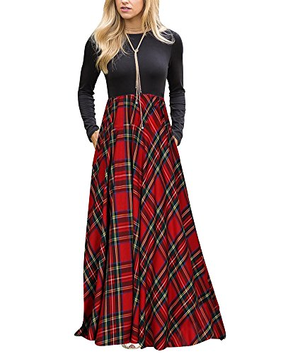 LEANI Women's Long Sleeve Plaid High Waist Floor Length Pleated Maxi Dress With Pockets