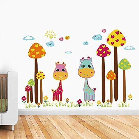 Animaux girafe champignons papier maison autocollant mural amovible cuisine salon salle à manger chambre art picture
