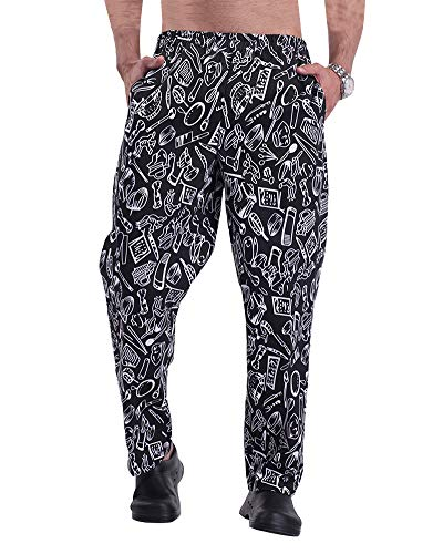 (Men's and Women's Baggy Printed Chef Pants Kitchen Uniforms with Elastic Waist Floral Restaurant Work Pants Style1 XL)