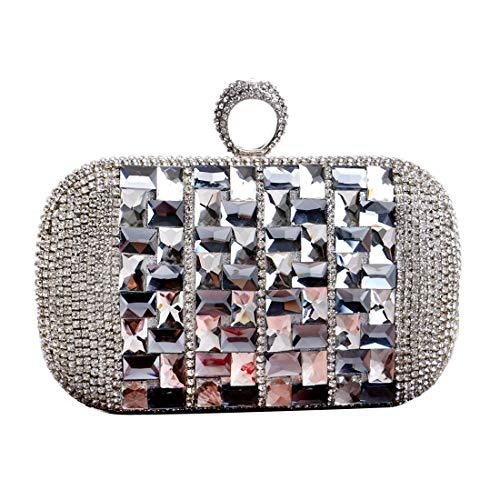 à diamants Luckywe concepteur main à Femmes de dembrayage Dîner Gris de Sac Bague exquis soirée qRZSFt