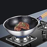 "12.5"" Stainless Steel Wok, Nonstick Stir Fry"