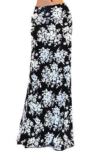 Vivicastle Women's Colorful Printed Fold Over Waist Long Maxi Skirt (Large, C21, blk/Ivy) - Fold Skirt Waist Over