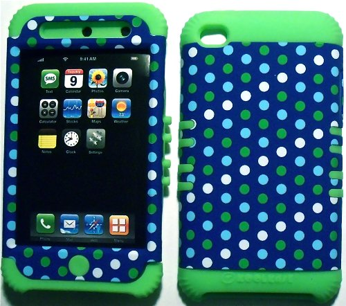 Dark Blue Polka Dots on Lime Silicone Skin for Apple ipod Touch iTouch 4G 4 Hybrid 2 in 1 Rubber Cover Hard Case