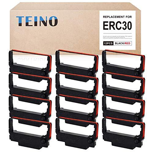 TEINO 12 Pack ERC30 ERC-30 ERC 30 34 38 B/R Compatible Ribbon Cartridge for use in ERC38 NK506 (Black Red)