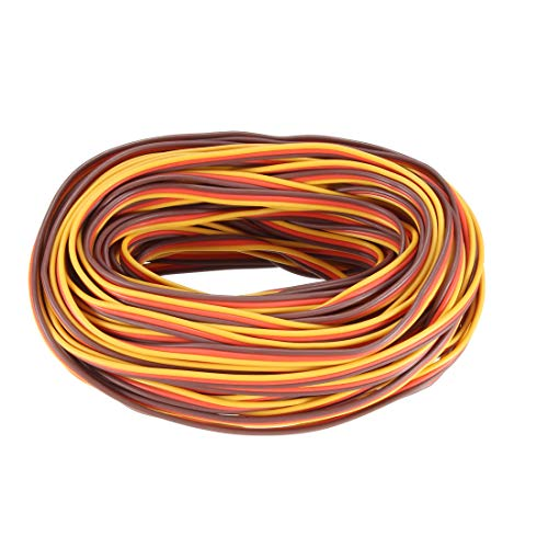 uxcell 41FT/12.5Meters 22AWG Servo Wire 3Pin Line for JR Futaba RC Servo Hobby Model Extension Cable 30 Core Brown/Red/Orange from uxcell