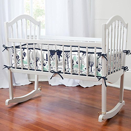 Carousel Designs Navy and Mint Woodlands Cradle Bumper by Carousel Designs