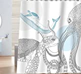 Sunlit Designer Ocean Animals White Fabric Shower Curtain with Sea Turtle Whale Octopus Tentacles Marine Life Scenery Abstract Sketch Art - Blue Gray Black