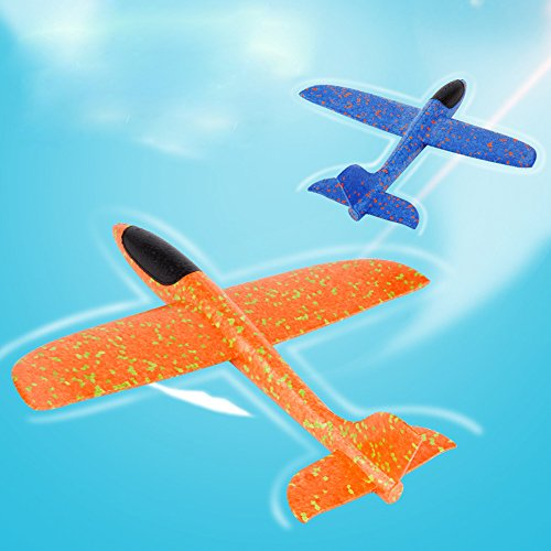 ONEGenug 2pcs Airplane Outdoor Sports Toy, Manual throwing, Model Foam Glider Outdoor Fun, Blue & Orange Color, Upgrade Large Size by ONEGenug (Image #1)