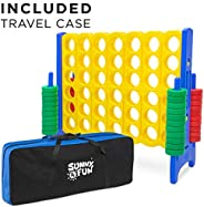 Sunny & Fun Giant 4 in A Row Color Connect w/ Storage Carry Bag – 4 Feet x 3.5 Feet Jumbo Life Size Four t