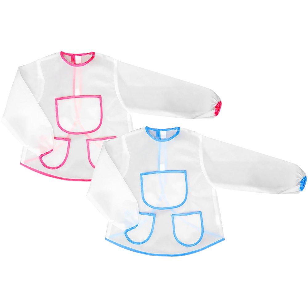 com-four® 2X Mal- und Bastelschürze in blau für Kinder mit DREI Taschen zum Werken, Malen, Basteln und andere lustige Arbeiten die Spaß Machen (02 Stück - blau)