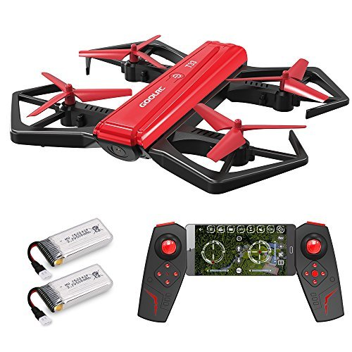 GoolRC T33 WIFI FPV 720P HD Camera Quadcopter Foldable G-sensor Mini RC Selfie Pocket Drone Height Hold One Extra Battery